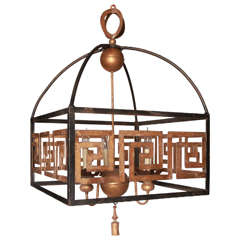 Neoclassical Style Iron Chandelier with Greek Key Design