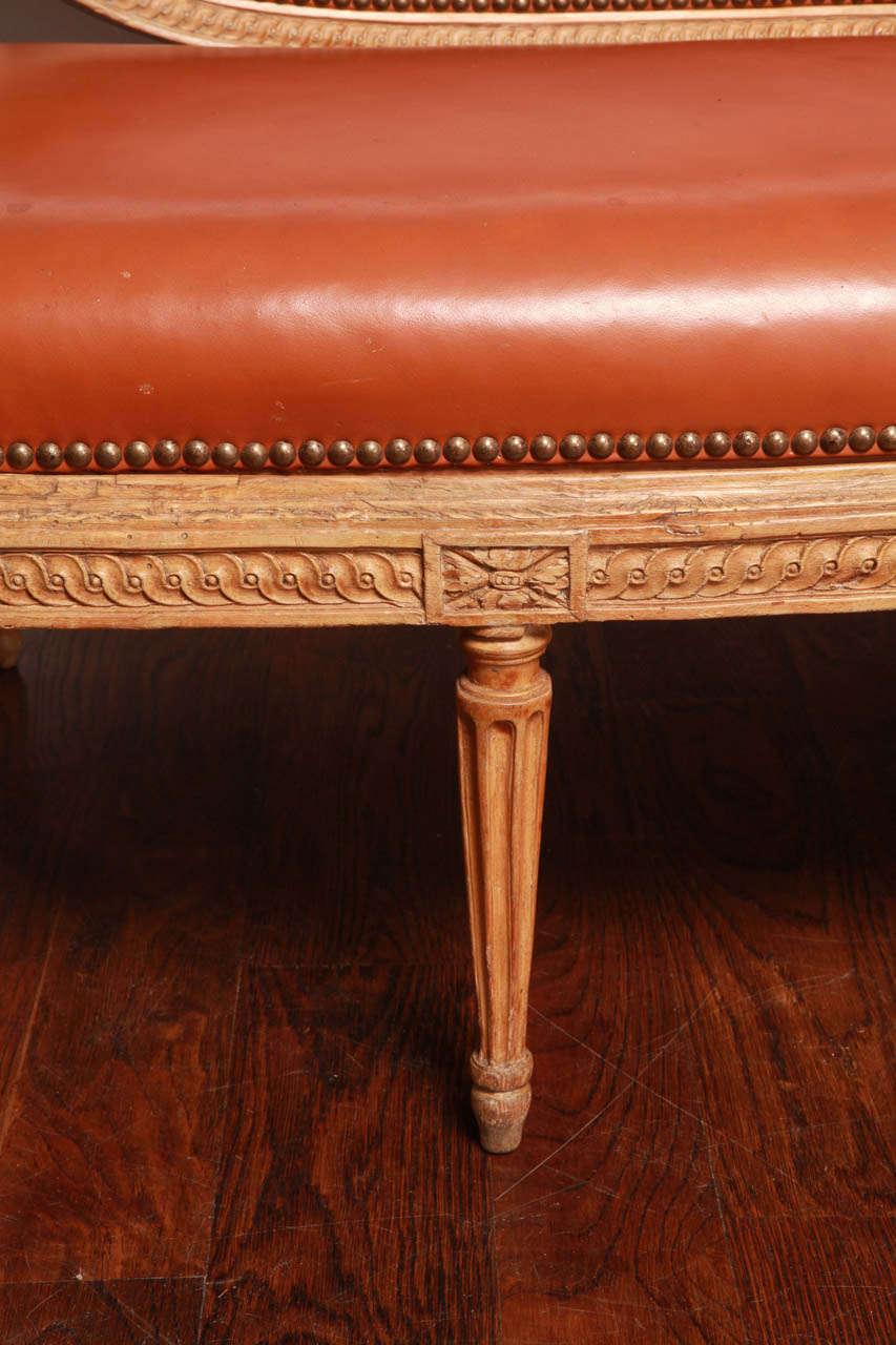 Brass Louis XVI Beechwood Settee For Sale