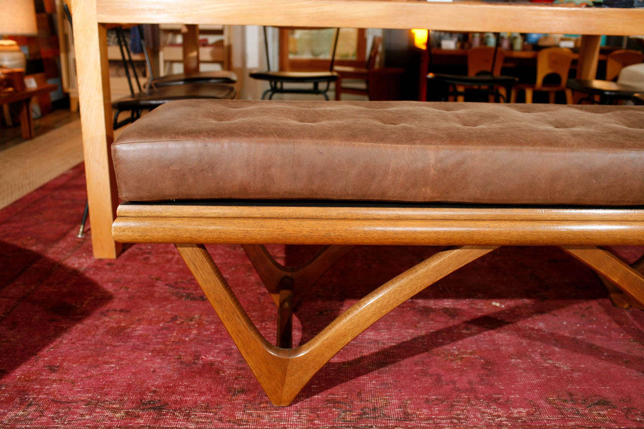 Leather Tufted Bowtie Bench By Adrian Pearsall At 1stdibs