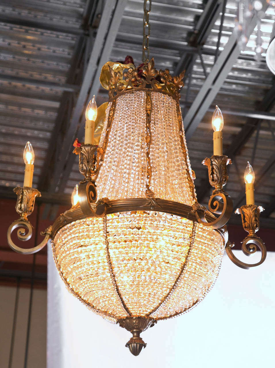 Antique bronze french crystal beaded basket chandelier for sale at this antique french bronze chandelier is simply elegant this ballroom chandelier is made with clear aloadofball Choice Image