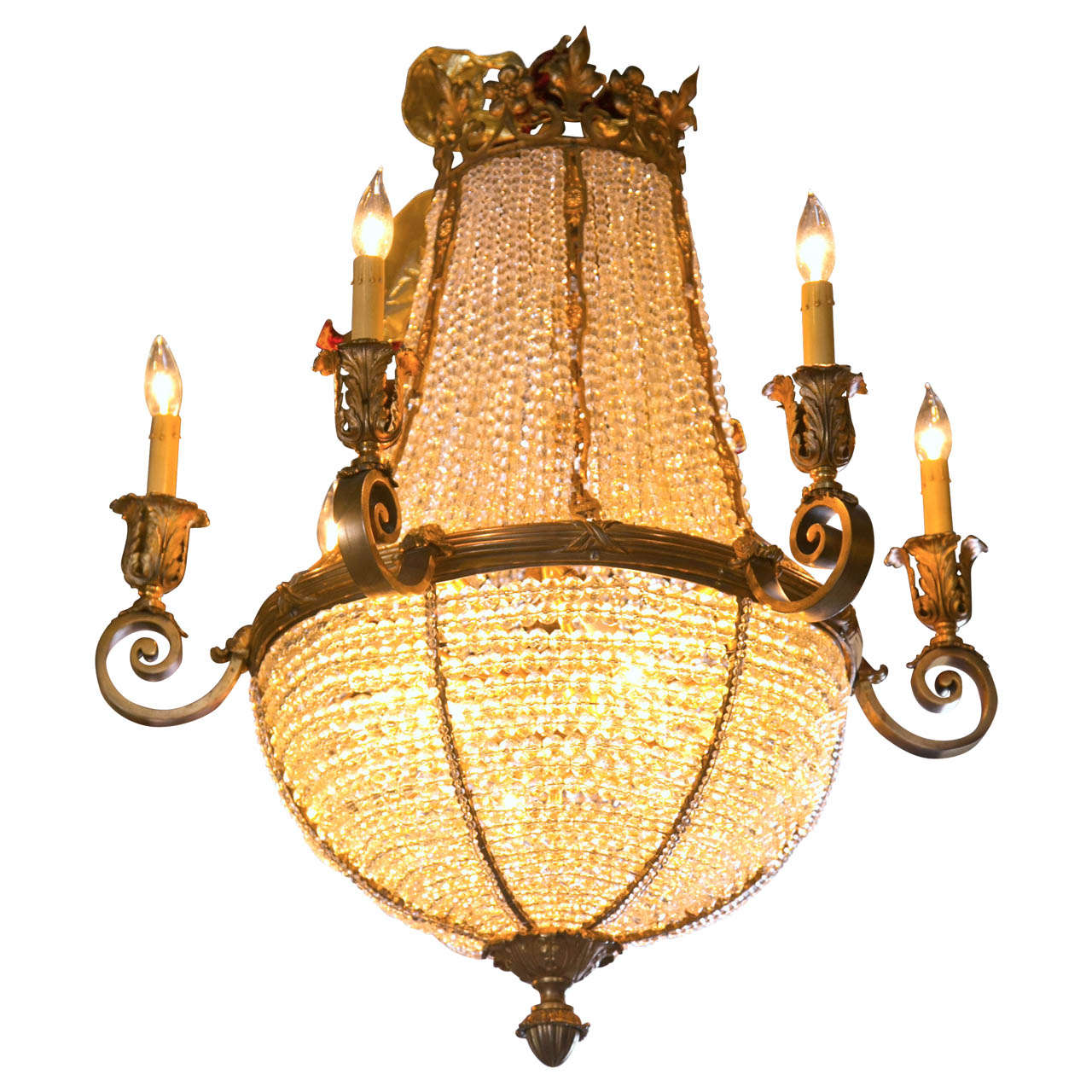 Antique Bronze French Crystal Beaded Basket Chandelier For