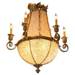 Antique Bronze French Crystal Beaded Basket Chandelier