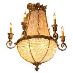Antique Bronze French Crystal Beaded Basket Chandelier