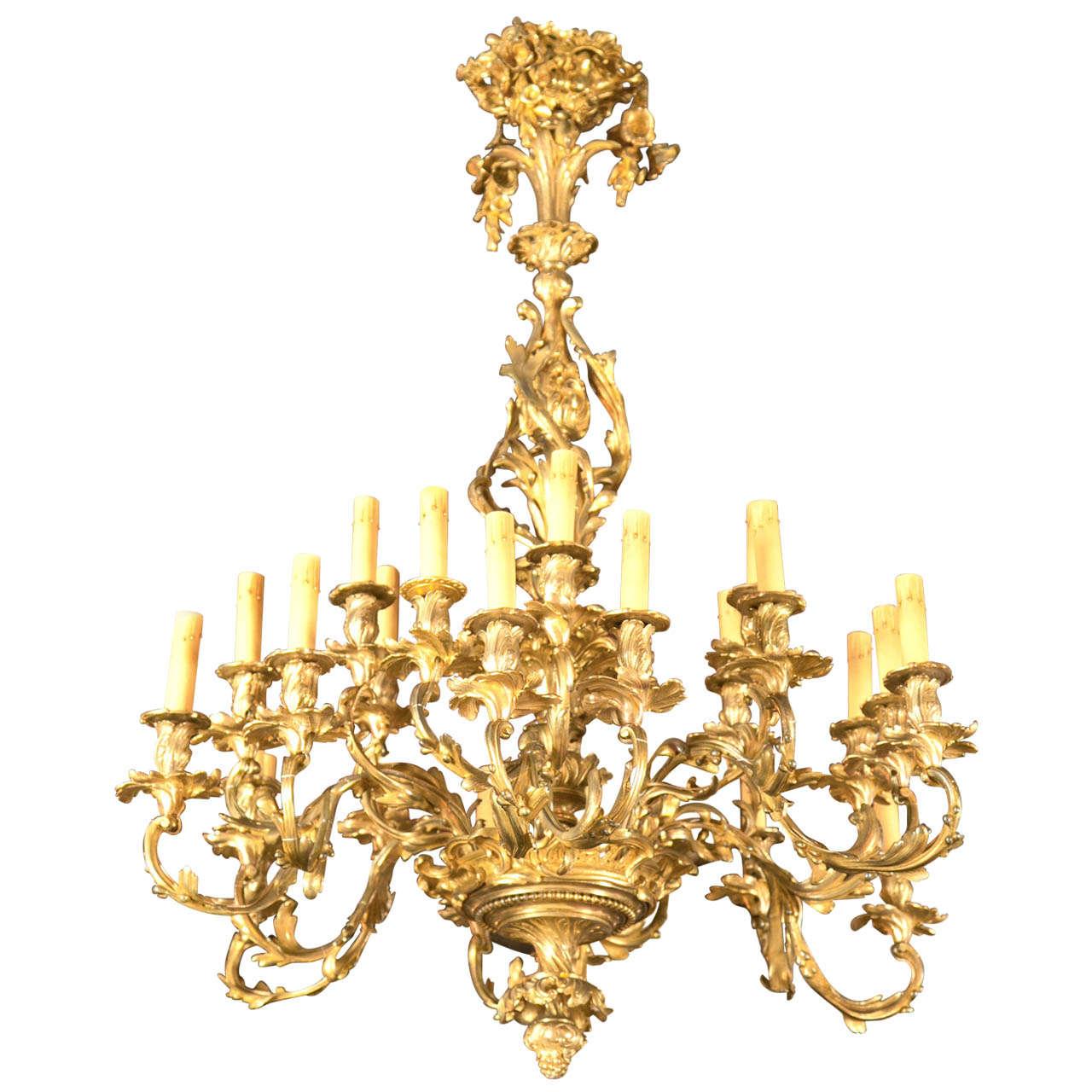 Antique Bronze 24 Light Rococo Chandelier At 1stdibs