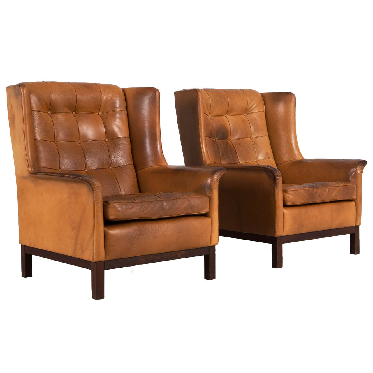 Delicieux Arne Norell Set Of Two Highback Lounge Chairs In Cognac Leather For Sale