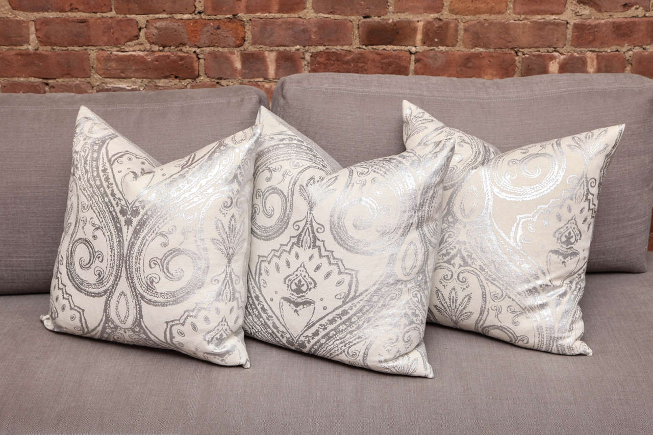 Custom made hand painted metallic pillows for sale at 1stdibs for Hand painted pillows