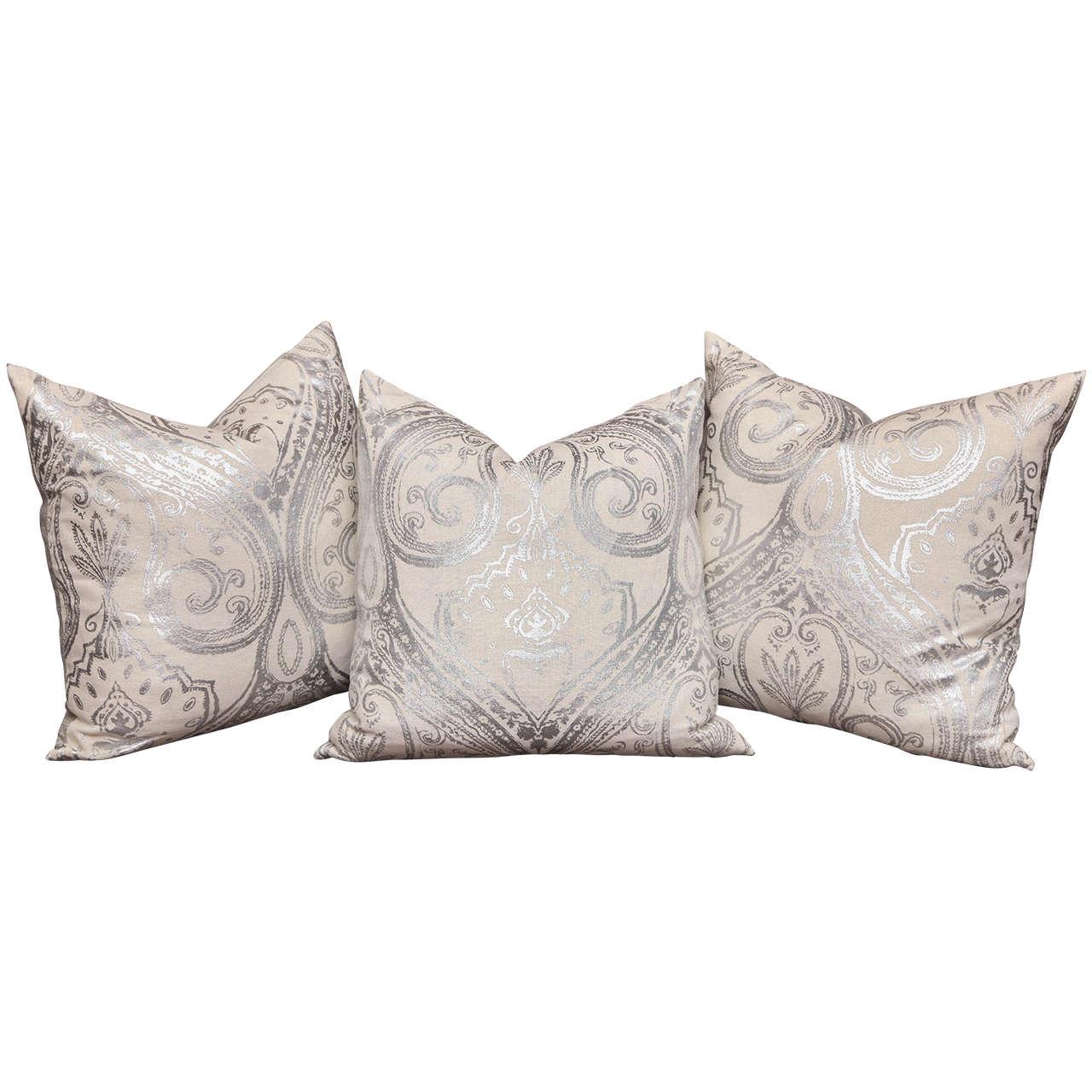 Custom-Made Hand-Painted Metallic Pillows