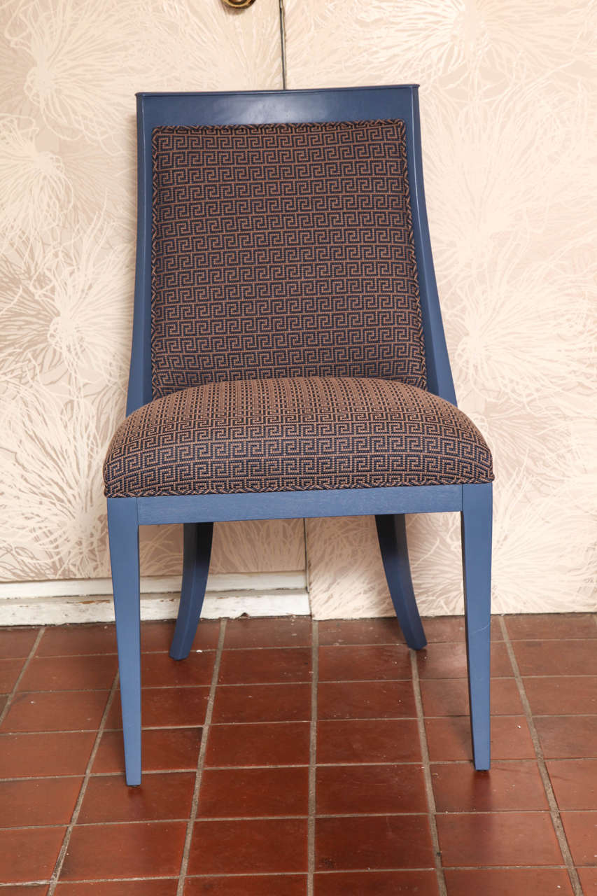 Unique side chair from Art Deco period. Updated with color and textile. One of a kind. Newly upholstered in blue cotton velvet with the Greek key motive. A chic Art Deco chair newly upholstered in a vintage fabric.