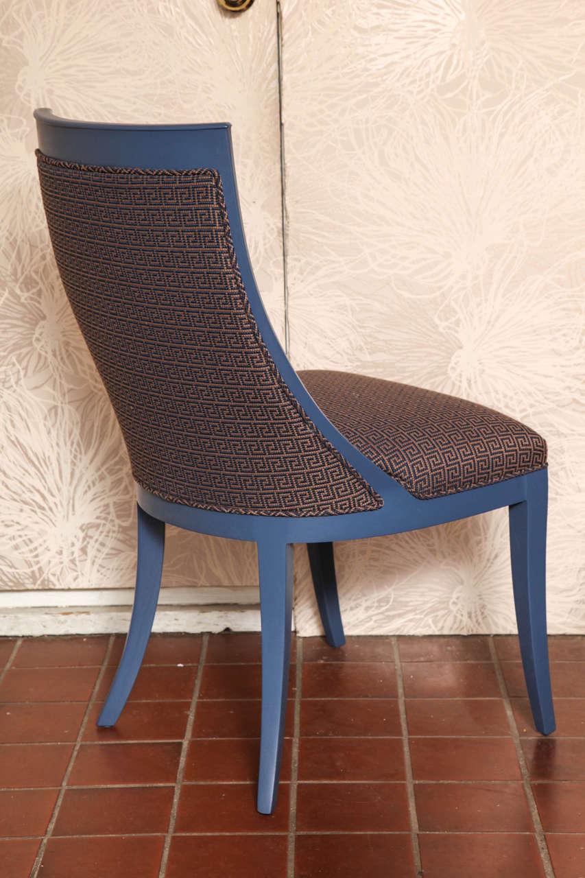 Cotton Greek Key Art Deco Chair For Sale