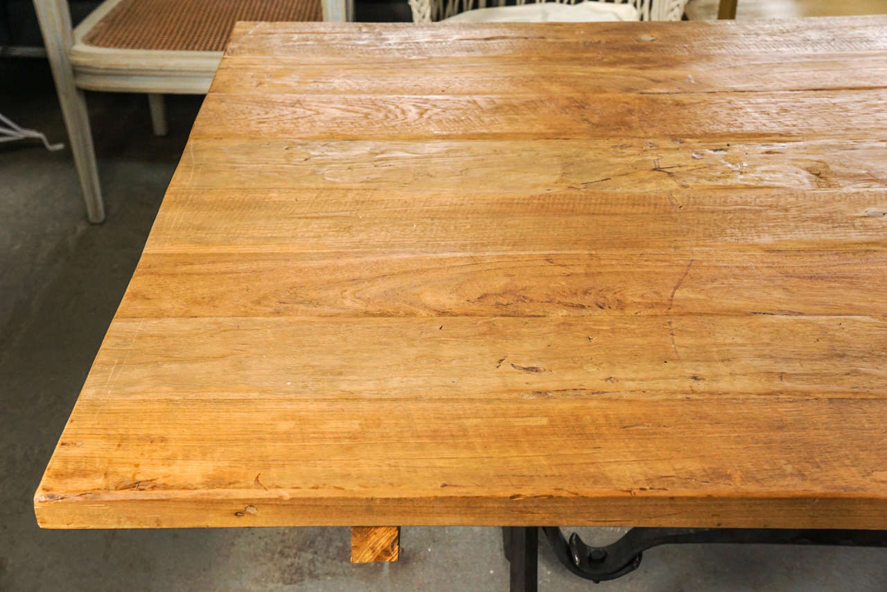 Dutch Teak Wood and Wrought Iron Indoor or Outdoor Dining Table For Sale
