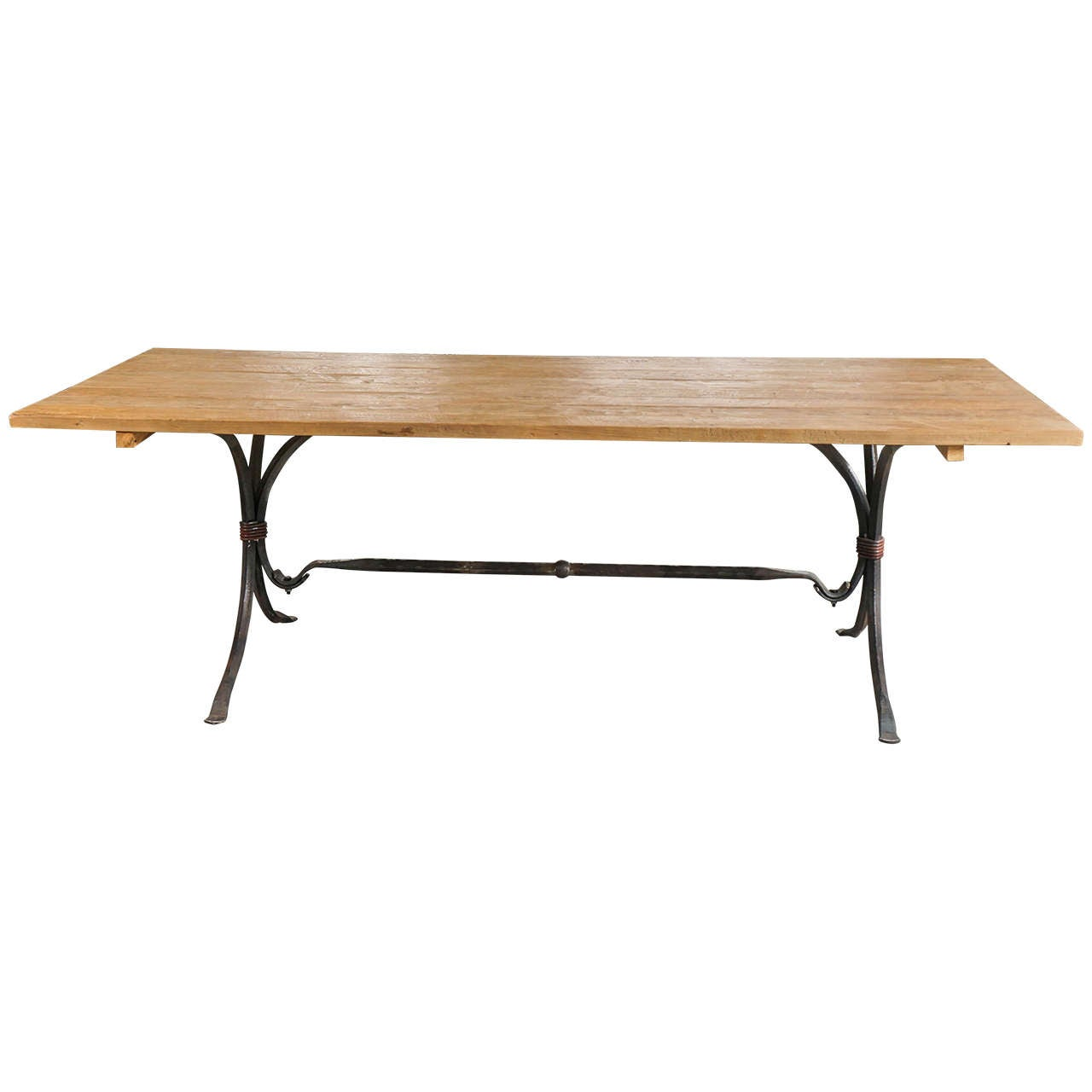 Teakwood And Wrought Iron Indoor And Outdoor Dining Table For Sale At