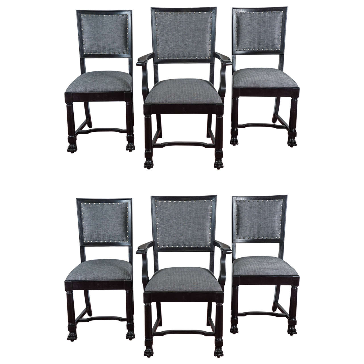 Ebonized Arts and Crafts Style Dining Chairs