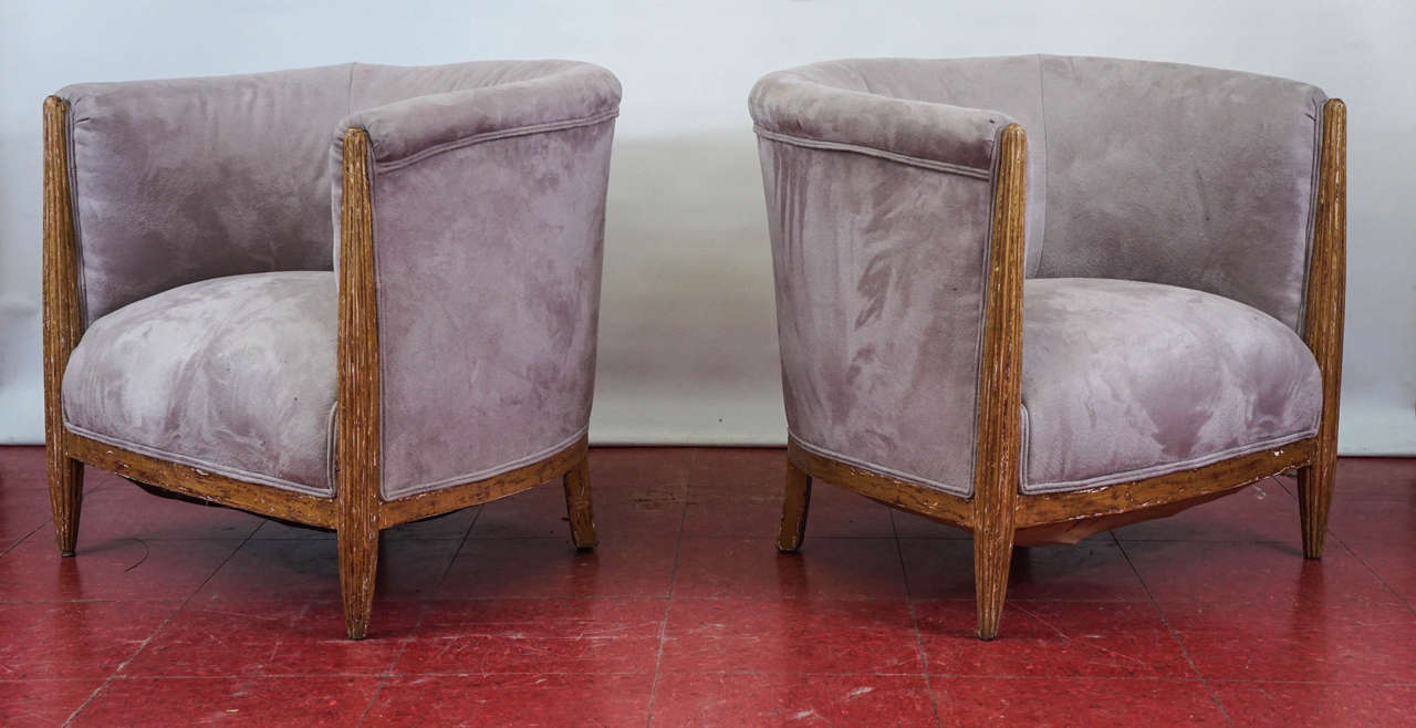 Gilt Pair of French Art Deco Barrel Back Armchairs For Sale
