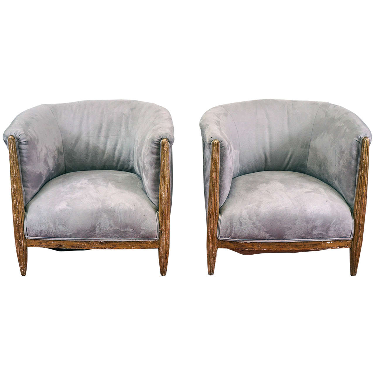 Pair of French Art Deco Barrel Back Armchairs For Sale