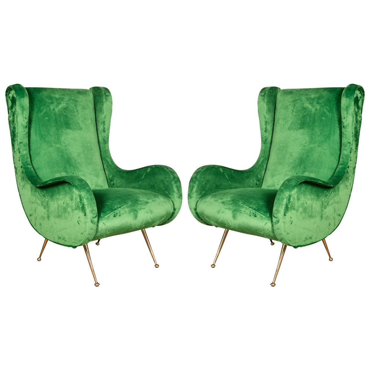 Pair Of Emerald Green Vintage Armchairs In The Style Of Marco Zanuso For  Sale