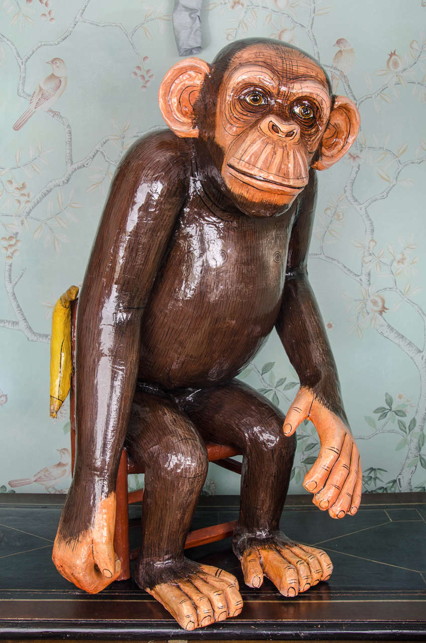 Mexican paper mache vintage judas sculpture folk art at 1stdibs - Lifesize Paper Mache Sculpture Of A Seated Monkey By Sergio Bustamante 2