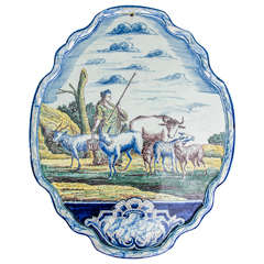 Dutch Delft Polychrome Shaped Oval Plaque with a Pastoral Scene, Dated 1754