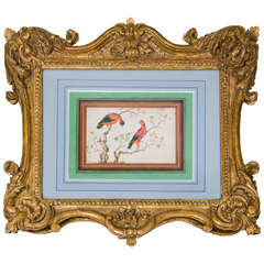 An 18th Century Chinese Picture of two Parrots in a Period Chippendale Frame
