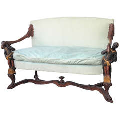 Venetian Settee with Nubians Arm Supports