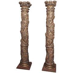 Pair of 17th Century Solomonic Columns