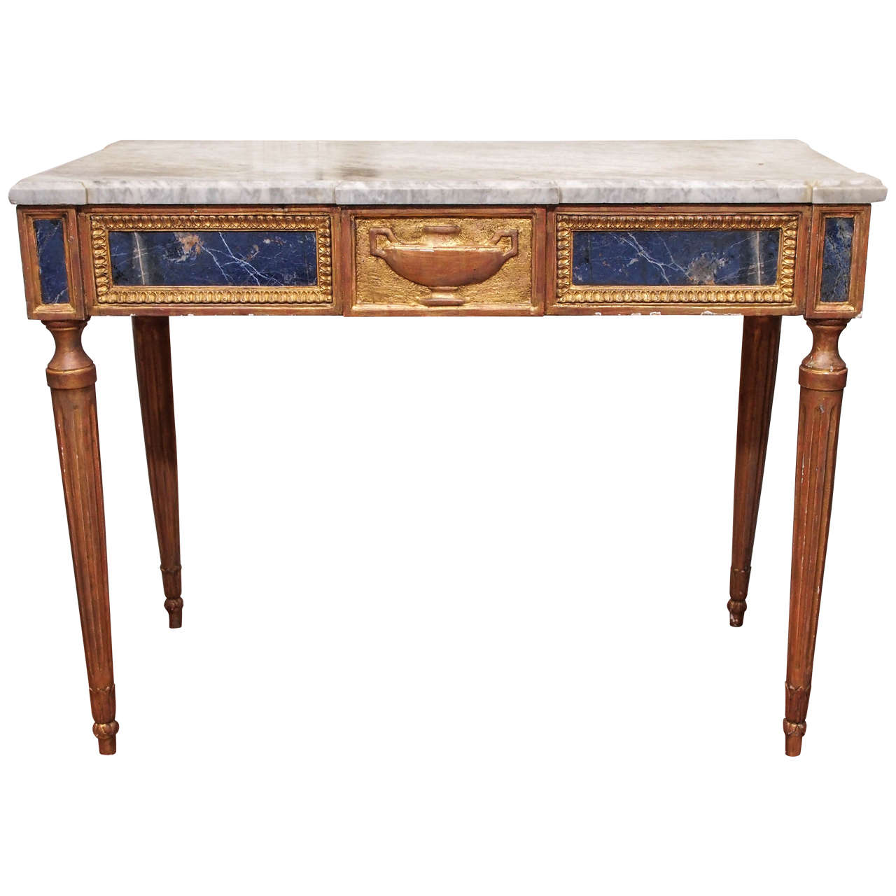 italian louis xvi console table with lapis lazuli panels. Black Bedroom Furniture Sets. Home Design Ideas