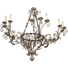 Exceptional Tuscan, Hand-Wrought Iron Chandelier with Eighteen Lights