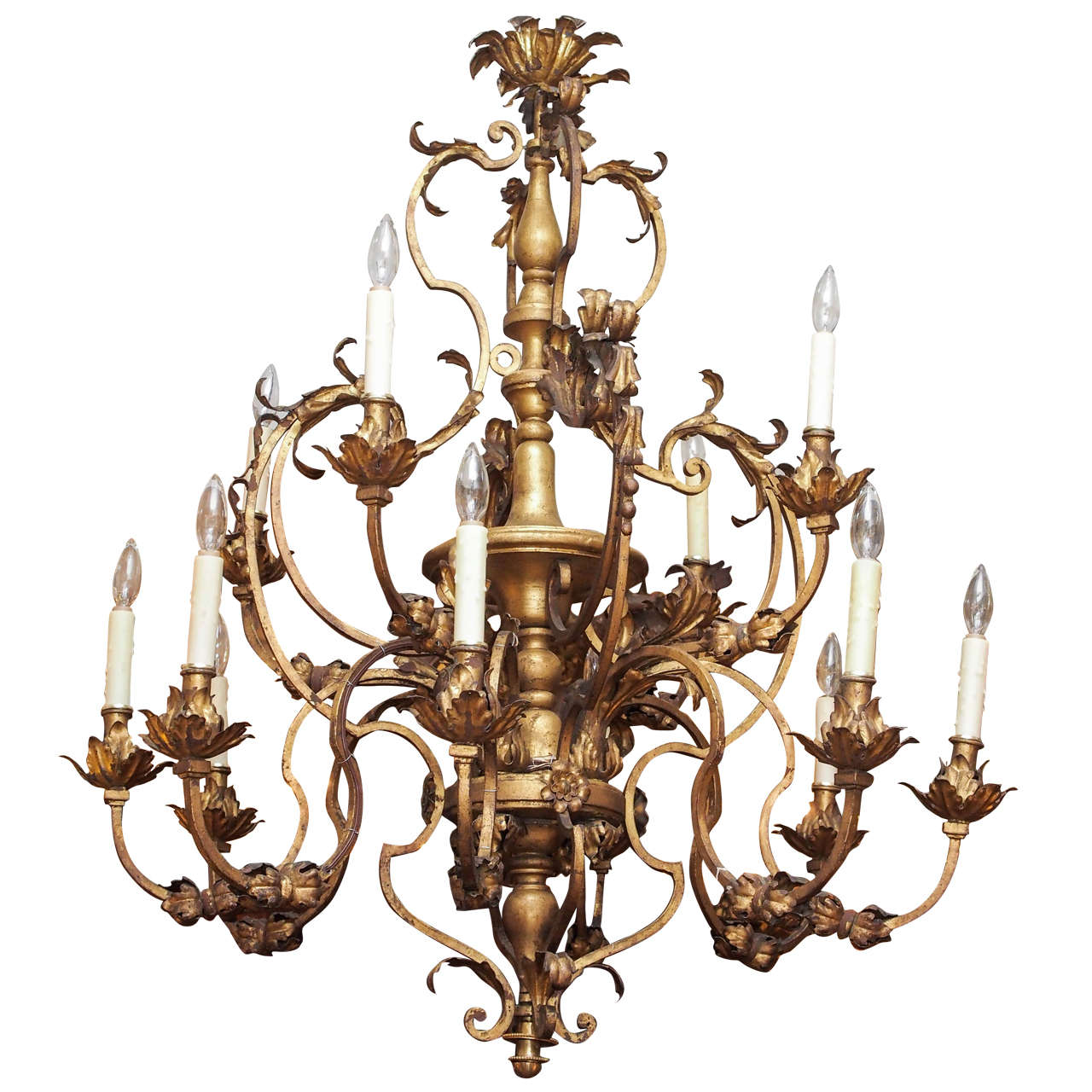 Italian Gilt Iron And Wood Chandelier With Twelve Lights