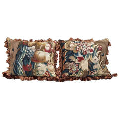 Pair of 17th Century Tapestry Fragments Now as Cushions