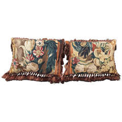 Pair of 17th Century. Aubusson Tapestry Fragments Now as Cushions