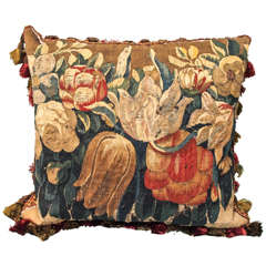 17th Century Aubusson Tapestry Fragment Depicting Tulips Now as Cushion