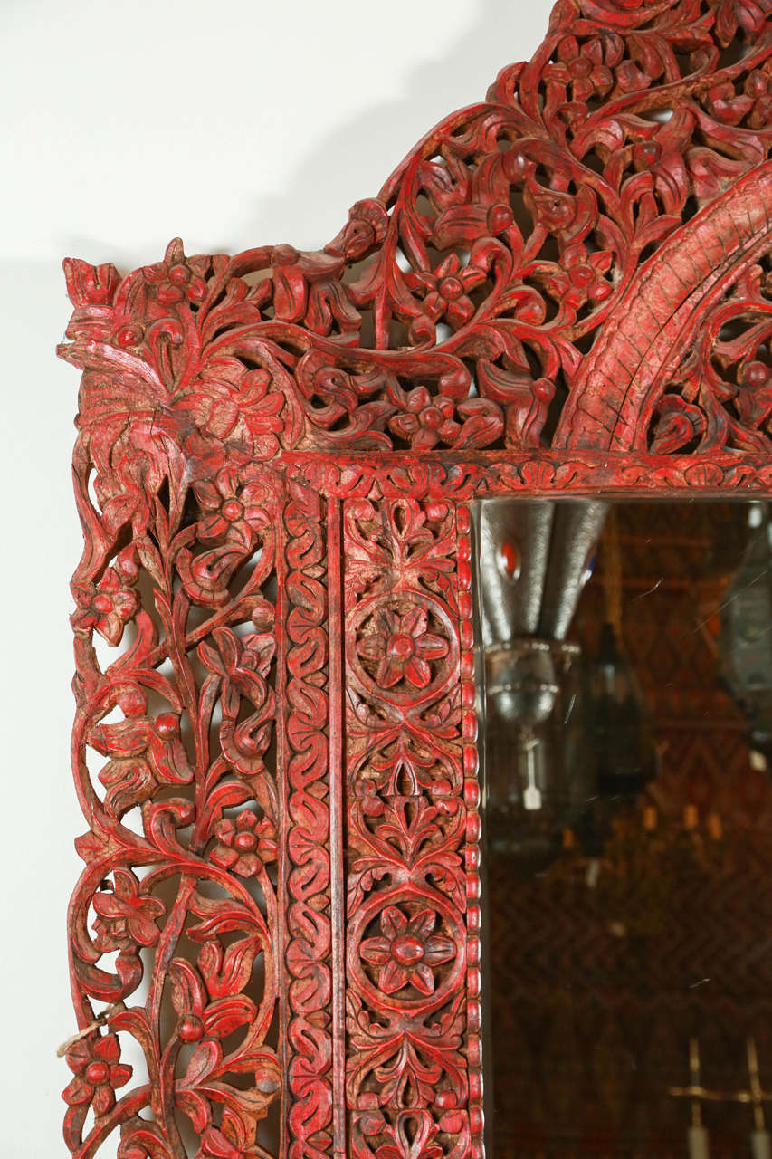 Giant Hand Carved Anglo Indian Mirror At 1stdibs