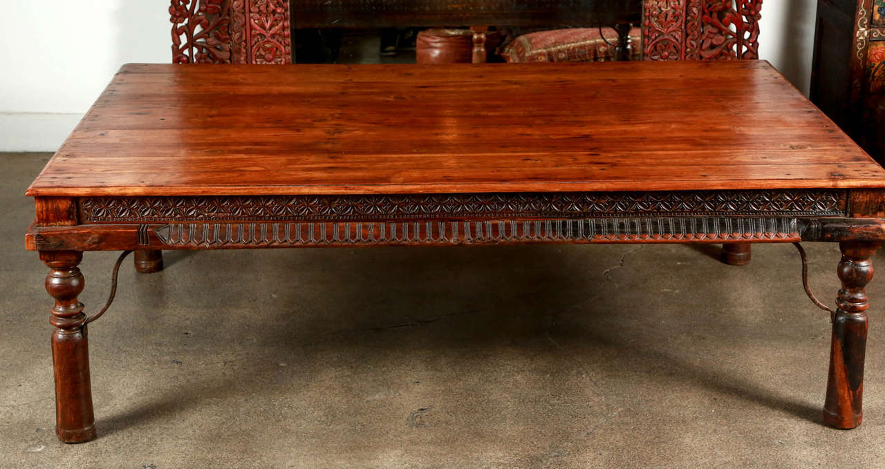Anglo Indian Coffee Table Solid Teakwood. Four Planks With Large Rounded  Nailheads And Metal