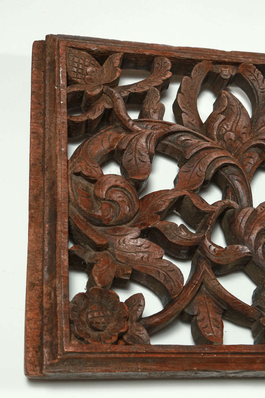 Asian hand carved wood panel relief image