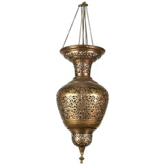 Moroccan Moorish Brass Hanging Light Fixture