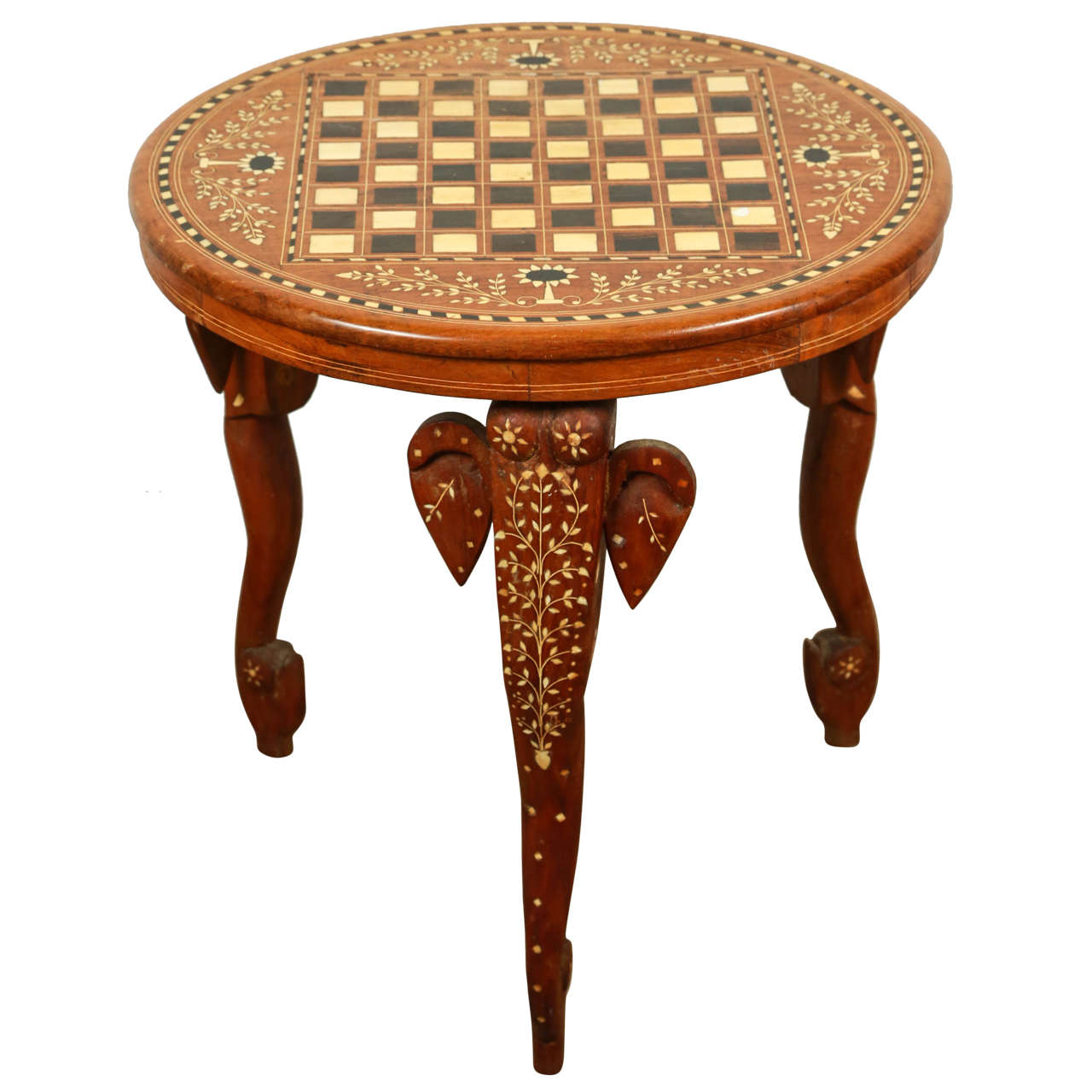 Charming Anglo Indian Side Table Inlaid With Mother Of Pearl And Elephant Head 1