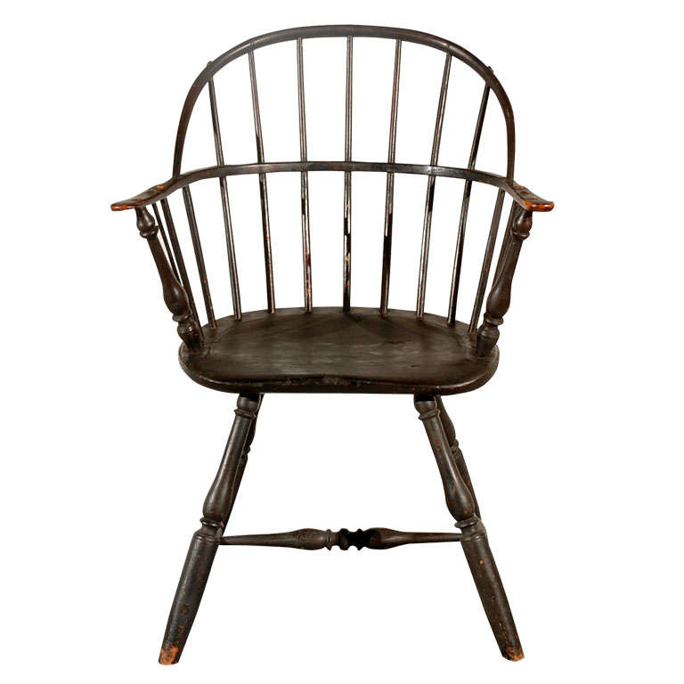 18thc New England Hoop Back Windsor Chair In Original Dk Surface For