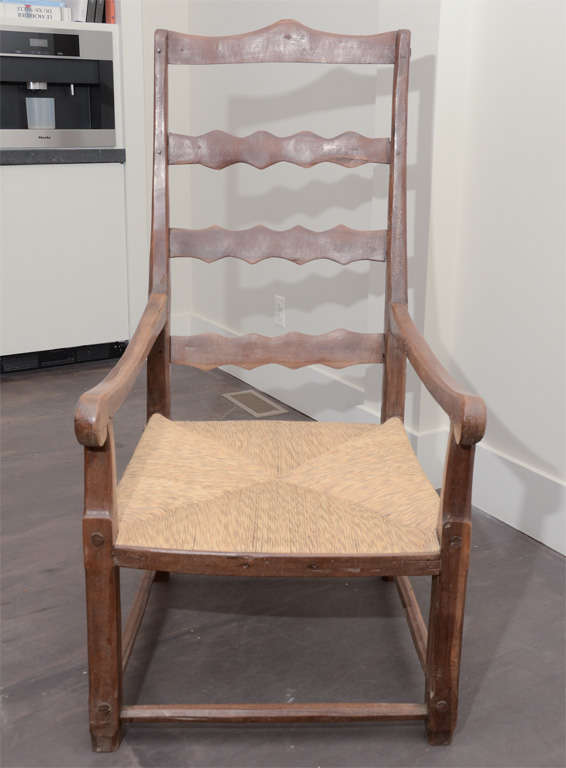 19th Century French Wooden Armchair with Rush Seat In Good Condition For Sale In New York City, NY
