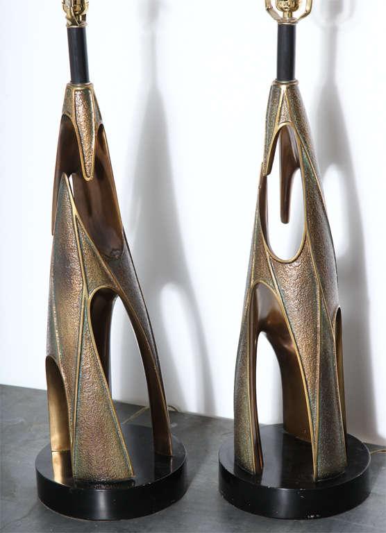 Monumental Pair of Maurizio Tempestini Bronze Resin Brutalist Table Lamps, 1960s 3