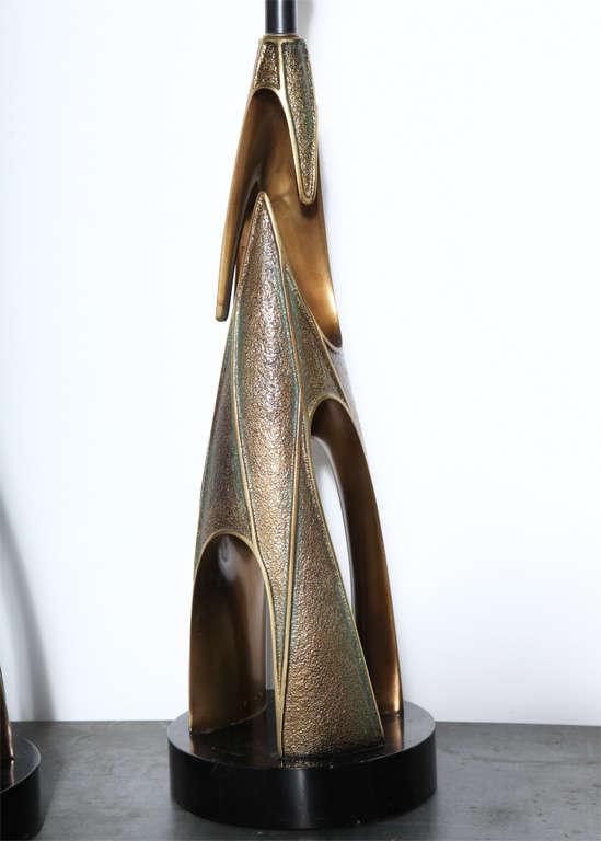 Monumental Pair of Maurizio Tempestini Bronze Resin Brutalist Table Lamps, 1960s 8