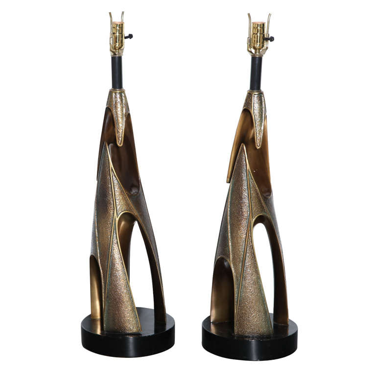 Monumental Pair of Maurizio Tempestini Bronze Resin Brutalist Table Lamps, 1960s 1