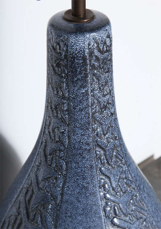 Michael Andersen & Son Hand Crafted French Blue Ceramic Table Lamp, 1930s  For Sale 2