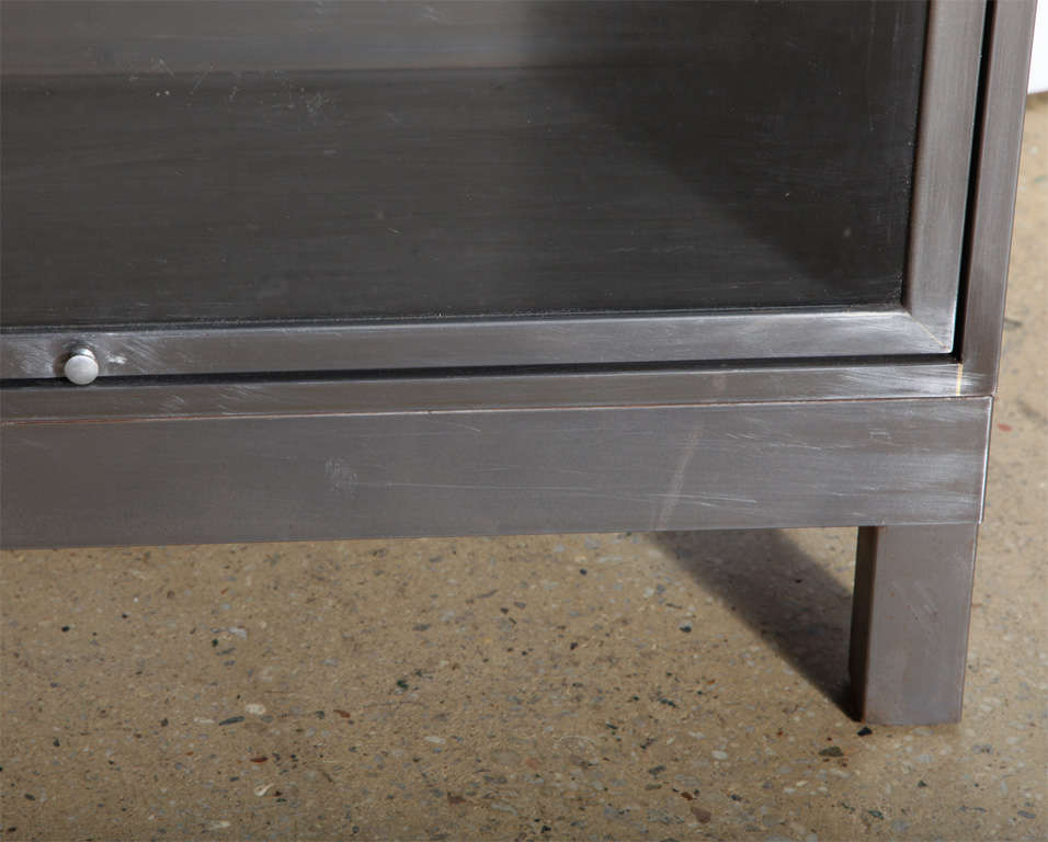 Industrial pair of Steel Barrister Bookcases For Sale