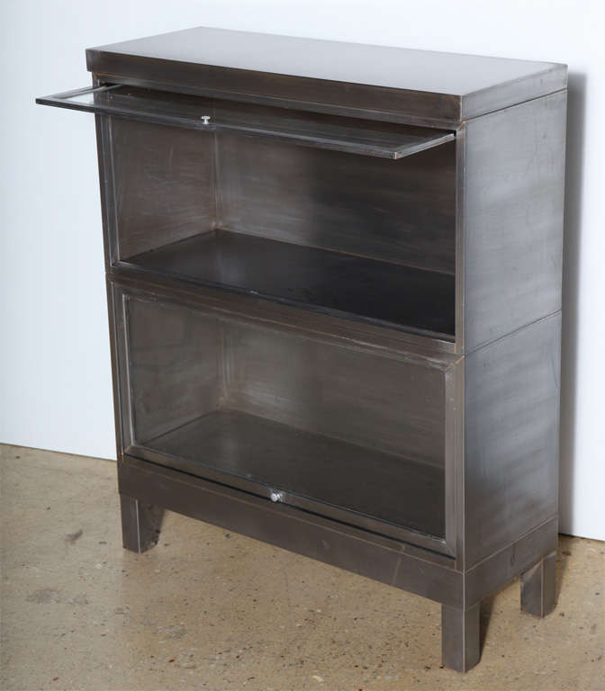 pair of Steel Barrister Bookcases In Excellent Condition For Sale In Bainbridge, NY
