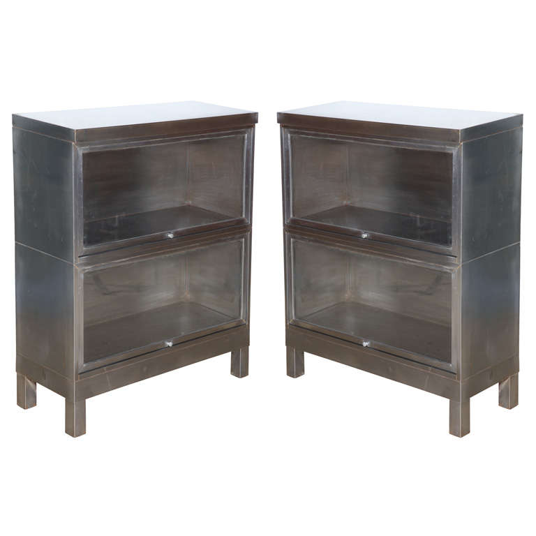 pair of Steel Barrister Bookcases For Sale