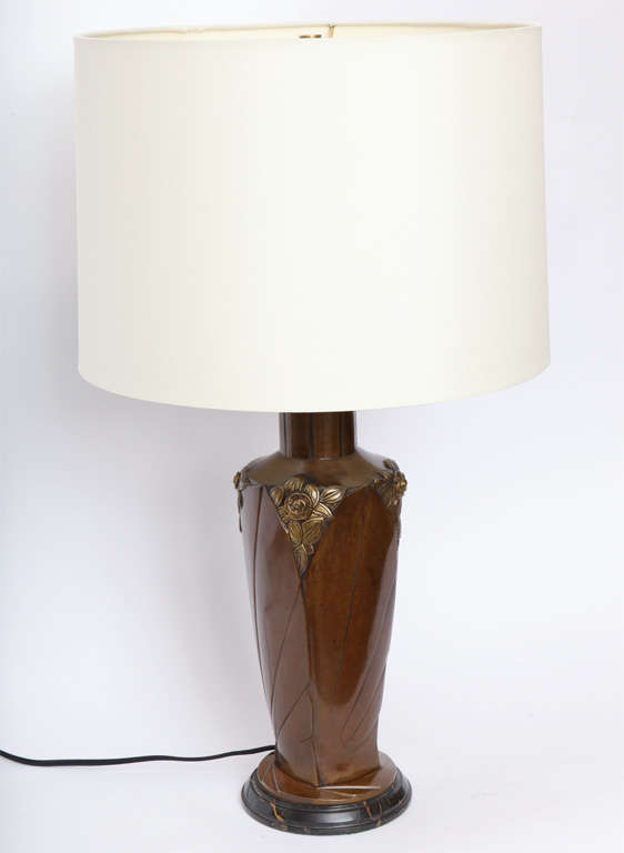 A French Art Deco patinated bronze table lamp signed Marionnet, France 1920's New sockets and rewired Shade not included