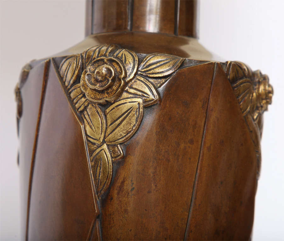 Marionnet Table Lamp Art Deco patinated bronze France 1920's In Good Condition For Sale In New York, NY
