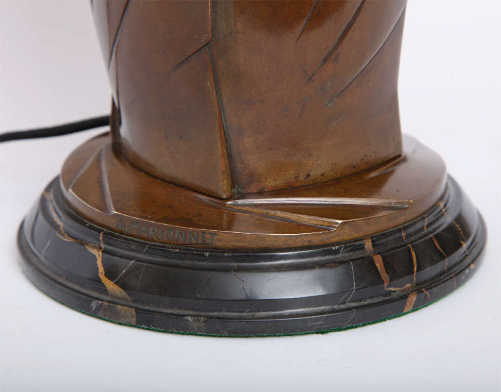 20th Century Marionnet Table Lamp Art Deco patinated bronze France 1920's For Sale
