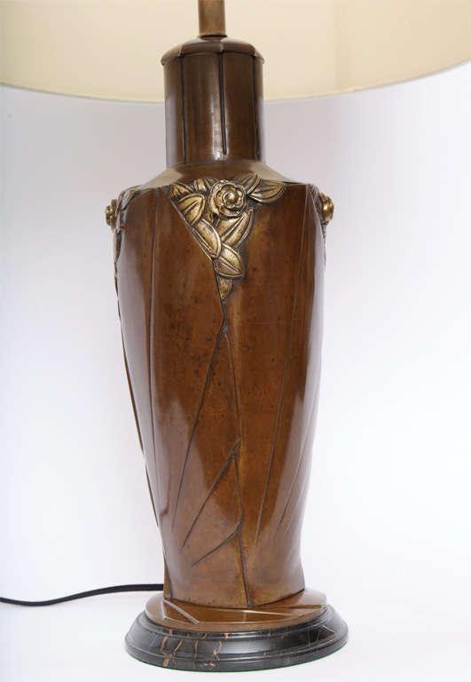 Bronze Marionnet Table Lamp Art Deco patinated bronze France 1920's For Sale