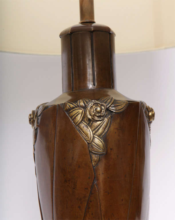 Marionnet Table Lamp Art Deco patinated bronze France 1920's For Sale 1