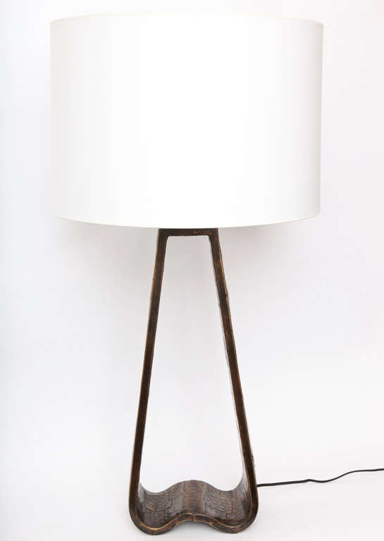 Fantoni Table Lamp Brutalist Mid Century Modern patinated brass Italy 1960's New sockets and rewired Shade not included.